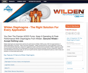 Wilden Diaphragms website