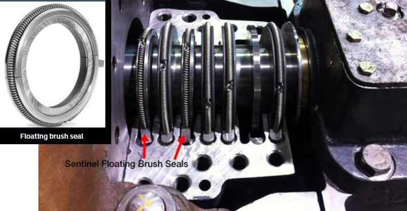Gland box with two floating brush seals and four carbon rings