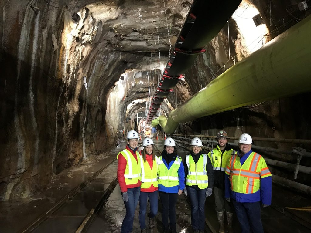 The JKMuir team visits Iris, the Hartford MDC tunnel boring machine. JKMuir provided construction inspection for the 4 mile long South Hartford Conveyance and Storage Tunnel, located 200 ft below ground.