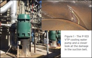 Figure 1 - The P-103 VTP cooling water pump and a closer look at the damage in the suction bell.