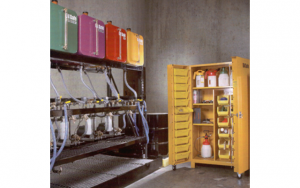 Segment 16 Fig. 1_ Mini bulk storage indoors. Note approved transfer containers on upper shelf of cabinet (Ref. 1)