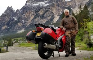 Henri Azibert on a motorcycle trip across the Alps