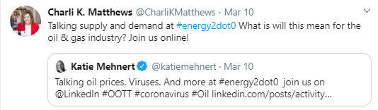 energy 2.0 twitter post oil and gas and virus talks