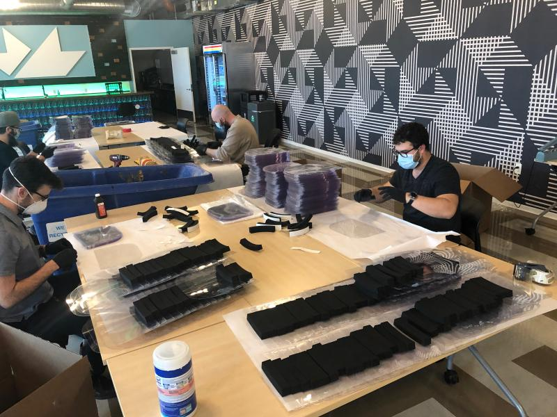 Production is officially underway for the first batch of face shields from mHUB Chicago for health care providers at Northwestern Medicine.