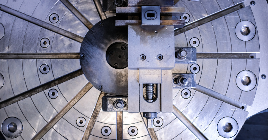 The trial workpiece clamped in position