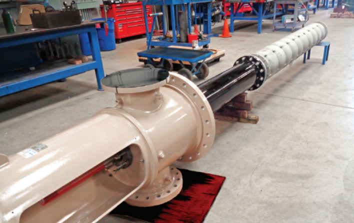 KSB Reconditioned T-head and custom-built stainless steel column pipe