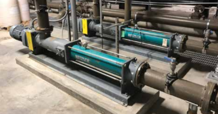 NETZSCH NEMO® 090 BY pumps in the Boiler Building transfer hydrolized food waste with extremely low pH product with 5% solids. food-waste