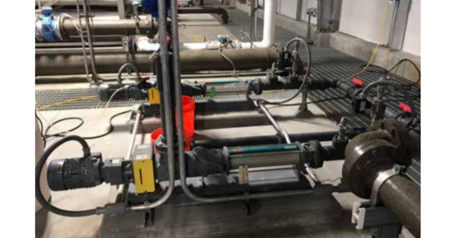 NETZSCH NEMO® FSIP® pumps in the boiler building to pump grease trap waste from restaurants and bacon grease from local bacon manufacturer to convey product to the digesters.