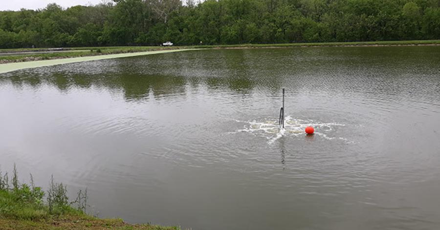A Tsurumi TRN aerator operates submerged at one of the lagoons of the Teutopolis treatment plant.