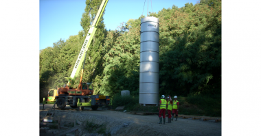 IFS A ready to install dry-well complete with duplex pumps, controls, and valves drops right into place for the deepest lift station in France